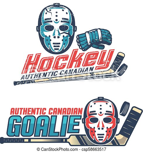 Simple vintage hockey emblems with classic goalkeeper mask - csp58663517