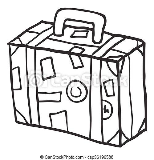Simple voyage noir blanc valise simple griffonnage - Dessin de valise ...