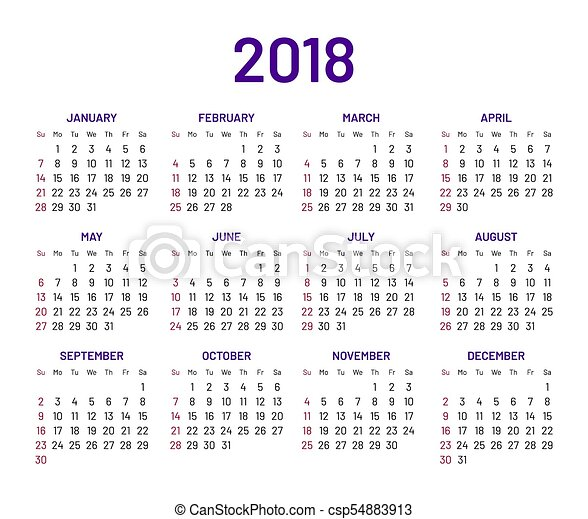 plain calendar 2018
