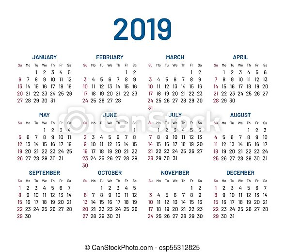 simple wall calendar 2019 year flat isolated csp55312825