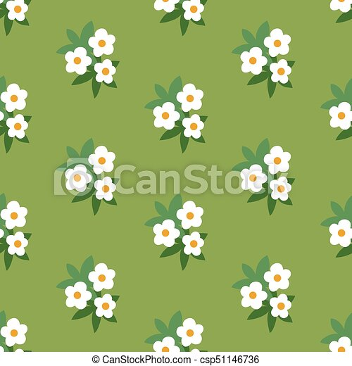 Simple white green floral seamless pattern - csp51146736