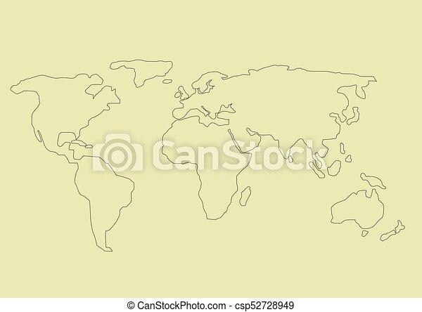 Simple world map Simple hand drawn world map vector illustration