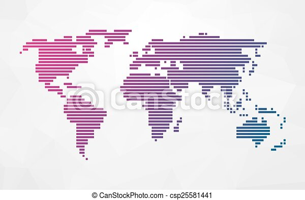 Simple world map of colored stripes simple world map made eps simple world map of colored stripes csp25581441 gumiabroncs Image collections