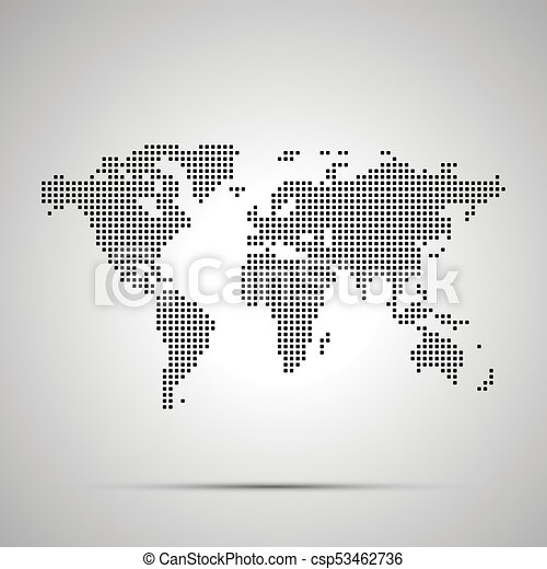 Simple world map pixelated silhouette