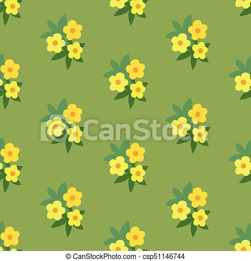 Simple yellow green floral seamless pattern - csp51146744