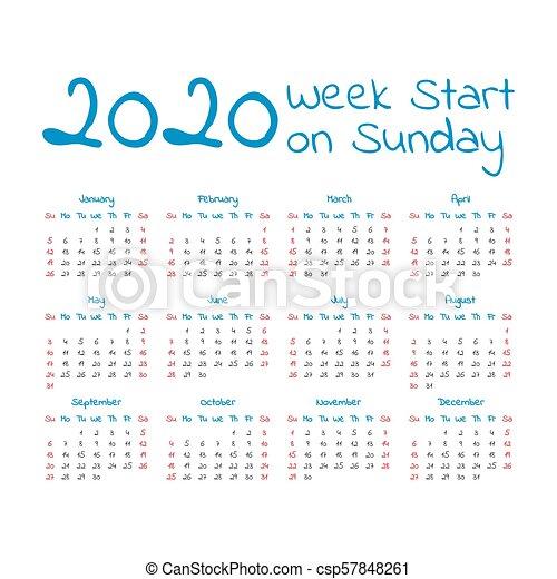 Calendario 2020 Semanas.Simples Calendario 2020 Ano