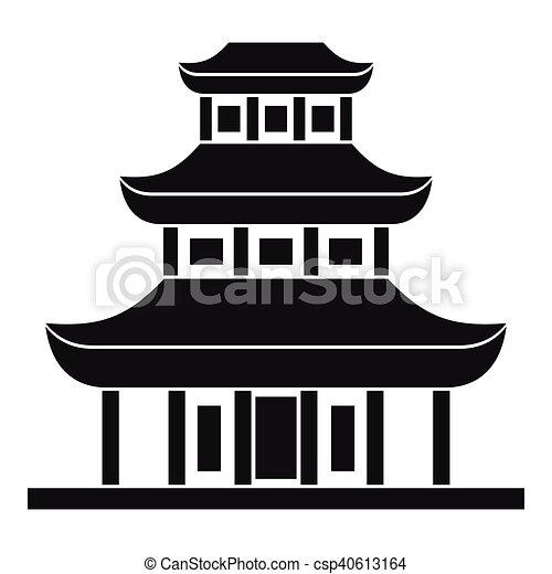 simples estilo templo budista ícone estilo simples budista