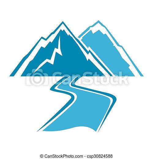 simples, montanhas, linha, rio, arte - csp30824588