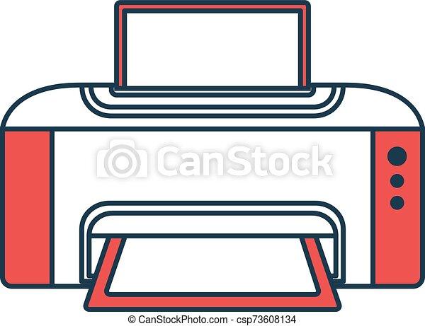 simples, vetorial, equipment., conceito, impressora, tech., ícone, olá, símbolo, icon., técnico, badge., esboço, escritório, ilustração - csp73608134