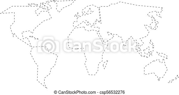 Simplified black dashed outline of world map divided to six simplified black dashed outline of world map divided to six continents simple flat vector illustration on white background gumiabroncs Image collections