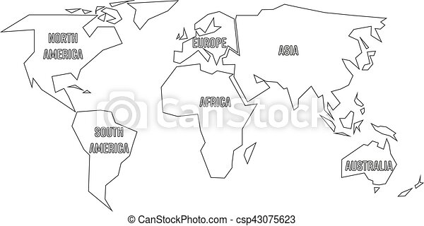 Simplified black outline of world map divided to six vector simplified black outline of world map divided to six continents simple flat vector illustration on gumiabroncs Gallery