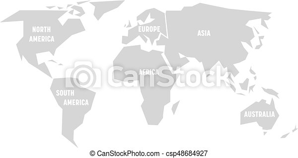 Simplified grey silhouette of world map divided to six continents ...