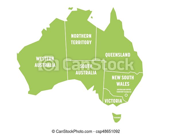 Map Of Australia Showing States.Simplified Map Of Australia Divided Into States And Territories Green Flat Map With White Borders And White Labels Vector Illustration