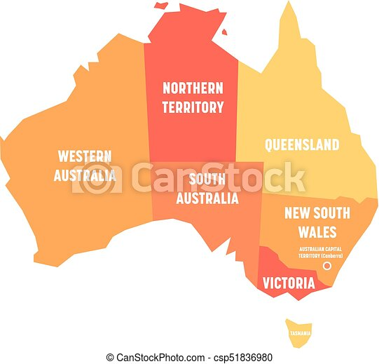 Australia Map States And Territories.Simplified Map Of Australia Divided Into States And Territories Orange Flat Map With White Labels Vector Illustration