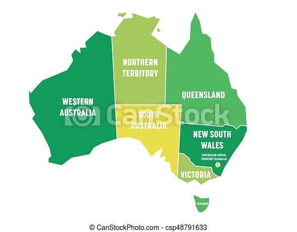 Map Of Australia With States And Territories.Simplified Map Of Australia Divided Into States And Territories Green Flat Map With White Borders And White Labels Vector Illustration