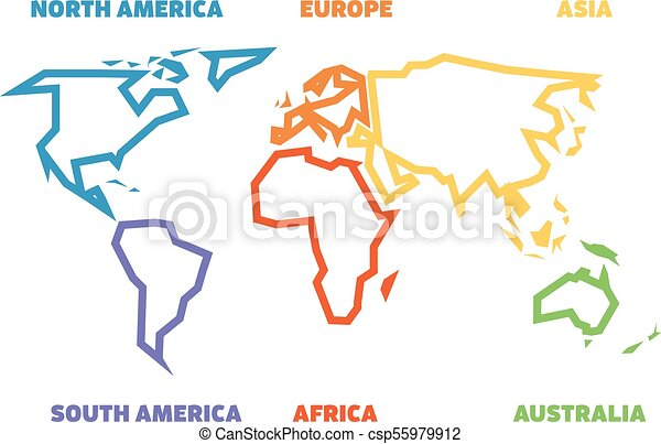 Simplified thick outline of world map divided to six continents simplified thick outline of world map divided to six continents simple flat vector illustration on white background gumiabroncs Image collections