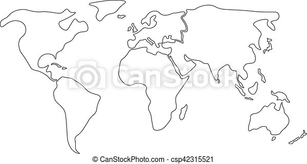 Simplified world map divided to continents simple black outline simplified world map divided to continents simple black outline csp42315521 gumiabroncs Choice Image