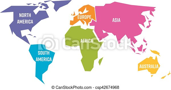 Simplified world map divided to six continents in different clip simplified world map divided to six continents in different colors simple flat vector illustration gumiabroncs Images
