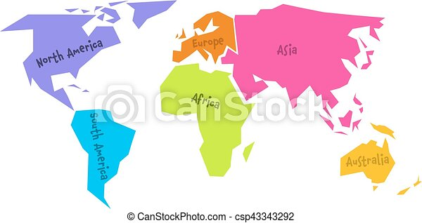 Simplified world map divided to six continents in different eps simplified world map divided to six continents in different colors simple flat vector illustration gumiabroncs Images