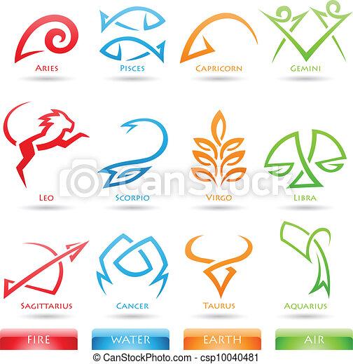 simplistic, zodiaque, étoile signe - csp10040481