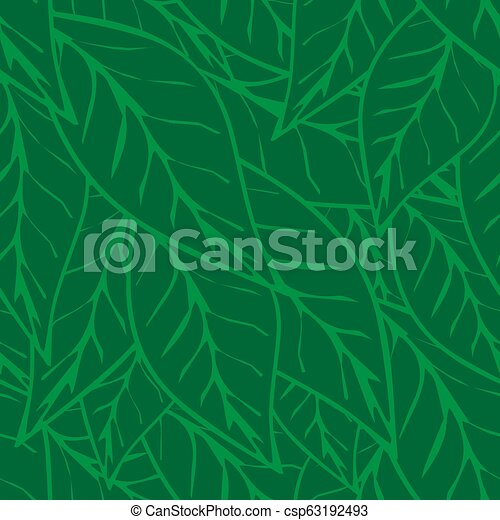 Simply green tea leaves seamless pattern background - csp63192493