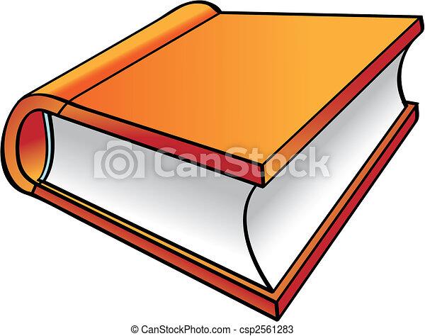 sinaasappel, boek, spotprent - csp2561283