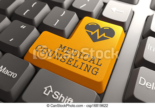 sinaasappel, counceling, medisch, button., toetsenbord - csp16819622