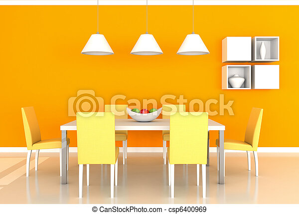 sinaasappel, het dineren, moderne kamer - csp6400969
