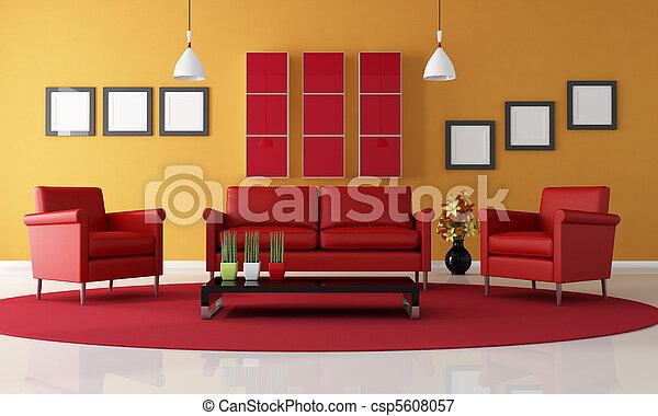 sinaasappel, woonkamer, rood - csp5608057