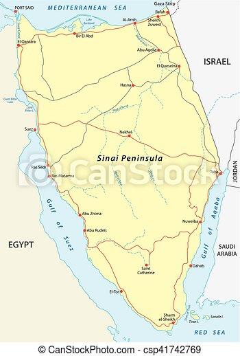 Sinai peninsula map. Sinai peninsula road map.