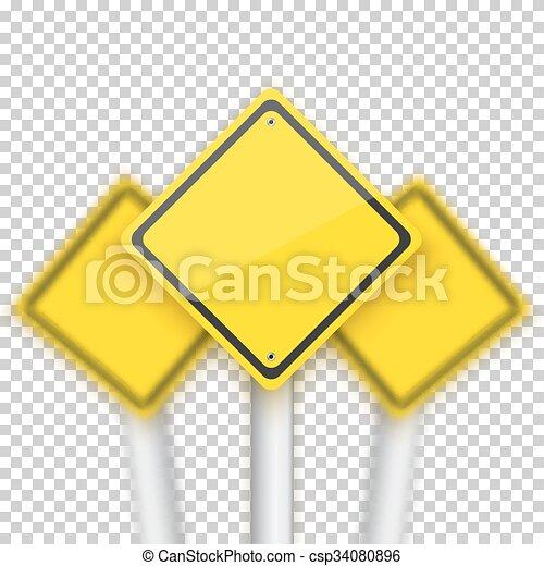sinais, sinal parada, realístico, vetorial, vermelho, v, obscurecido, estrada, behind. - csp34080896