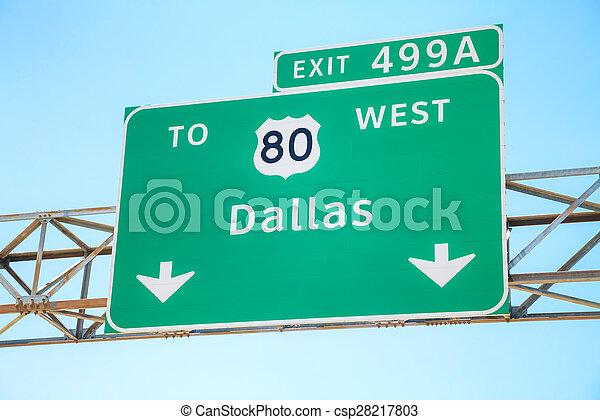 sinal direção, estrada, dallas - csp28217803