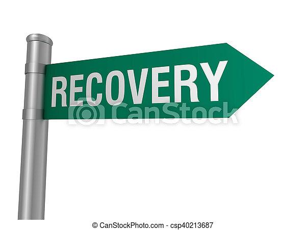 sinal estrada, recuperação, ilustração, 3d - csp40213687