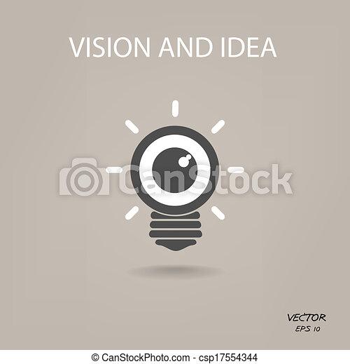 sinal negócio, luz, símbolo, idéias, sinal, bulbo, visão, ícone - csp17554344