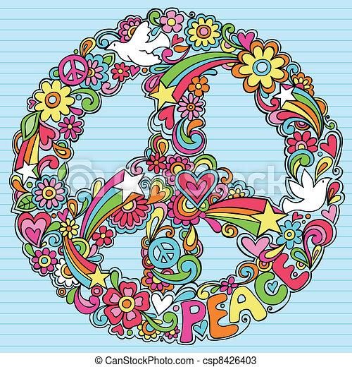 sinal, piscodelica, pomba, doodles, paz - csp8426403