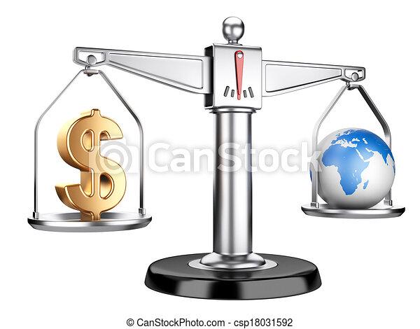 sinal terra, dólar, prata, escalas - csp18031592