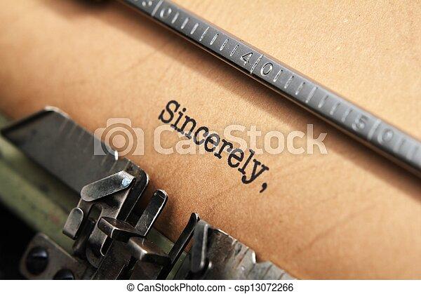 sincerely, テキスト, タイプライター - csp13072266