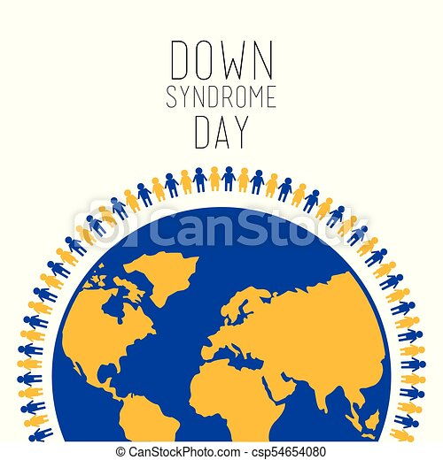 sindrome, persone, simbolo, giù, mondo, giorno, intorno - csp54654080