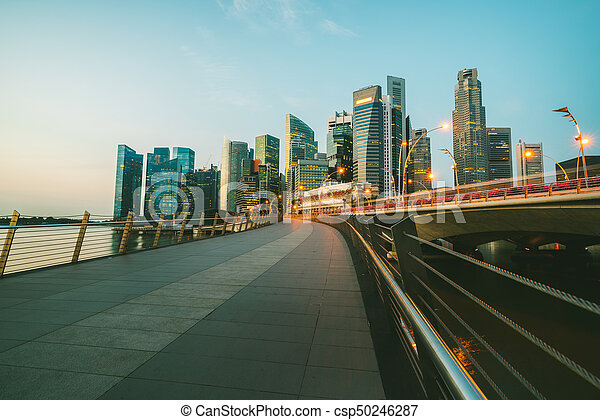 Singapore central business district skyline at blue hour - csp50246287