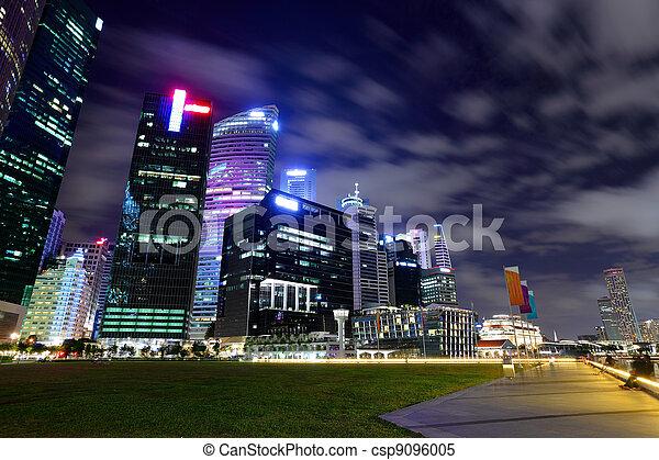 Singapore city skyline at night - csp9096005