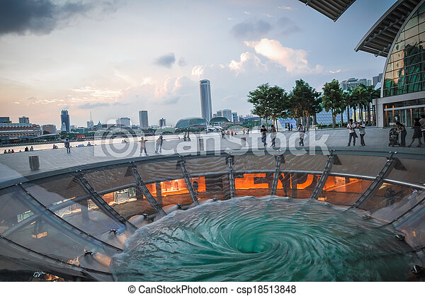 Singapore city skyline finacial district with water play in front, Malaysia - csp18513848