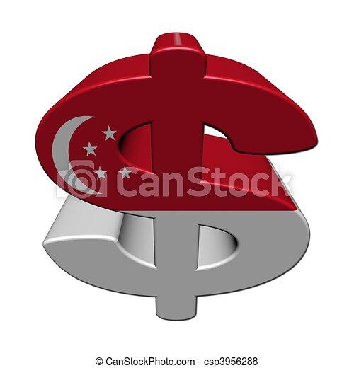 Singapore Dollar Symbol With Flag On White Illustration