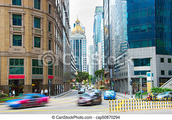 Singapore Downtown busy street life - csp50870294