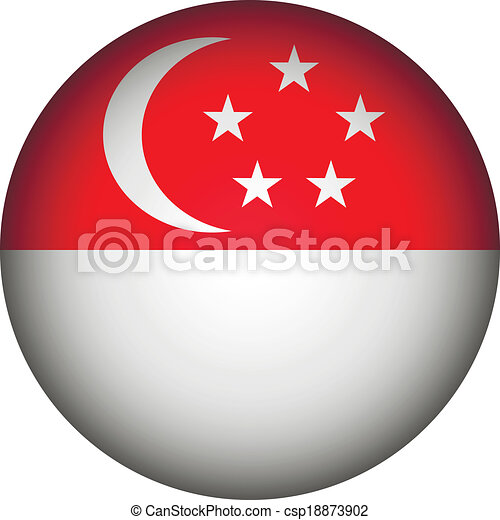 Singapore flag button. - csp18873902