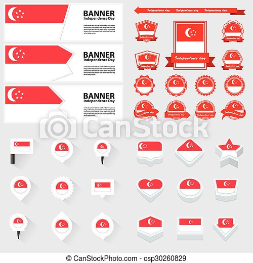 singapore independence day, infographic, and label Set. - csp30260829