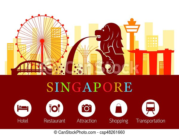 singapore landmarks skyline with accommodation icons clipart building fire clip art buildings free