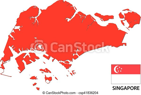Singapore map and flag. Singapore vector map with flag.