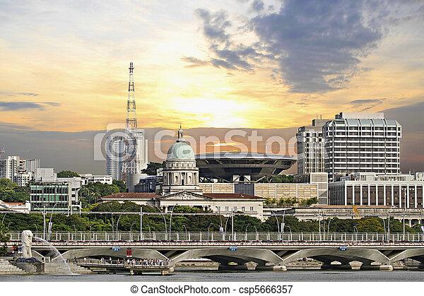 Singapore Parliament Building and Supreme Law Court  - csp5666357