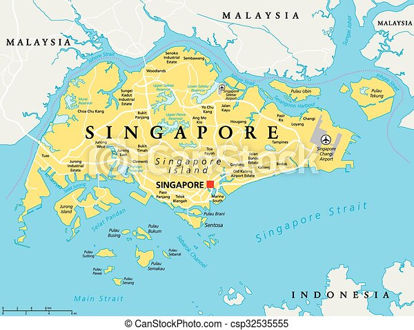 Singapore political map Singapore island political map with
