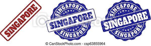 SINGAPORE Scratched Stamp Seals - csp63855964